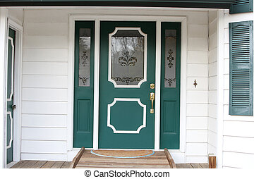 Front Door - Cyan Rustic front door on a white vacant house...