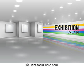 Exhibition announcement advertising invitation with blank...