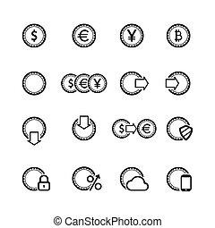 Cash icons set, contour flat