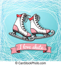 Love skate card theme vector illustration
