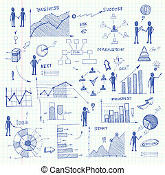 Doodle business charts infographics elements - Set of doodle...