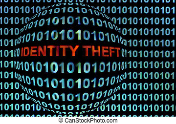 "Identity Theft in Red - The words ""identity theft"" in red..."