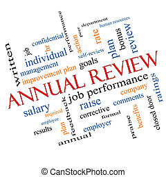 Annual Review Word Cloud Concept Angled with great terms...