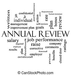 Annual Review Word Cloud Concept in black and white with...