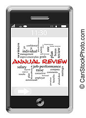 Annual Review Word Cloud Concept on Touchscreen Phone -...
