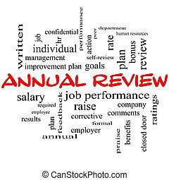 Annual Review Word Cloud Concept in red caps with great...