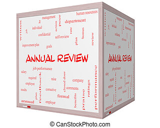 Annual Review Word Cloud Concept on a 3D cube Whiteboard...