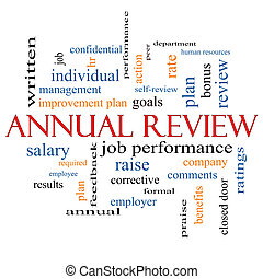 Annual Review Word Cloud Concept with great terms such as...