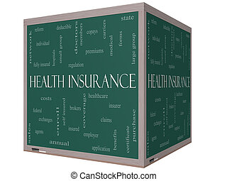 Health Insurance Word Cloud Concept on a 3D cube Blackboard...