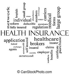 Health Insurance Word Cloud Concept in black and white with...