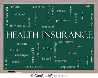 Health Insurance Word Cloud Concept on a Blackboard with...
