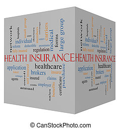 Health Insurance Word Cloud Concept on a 3D Cube with great...