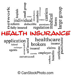 Health Insurance Word Cloud Concept in red caps with great...