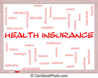 Health Insurance Word Cloud Concept on a Whiteboard with...
