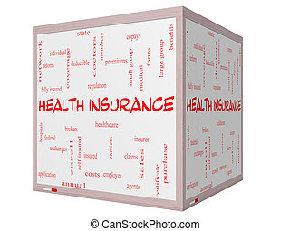 Health Insurance Word Cloud Concept on a 3D cube Whiteboard...
