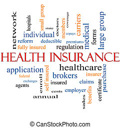 Health Insurance Word Cloud Concept with great terms such as...