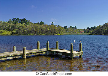 Wentworth falls lake - A view of the jetty at Wentworth...