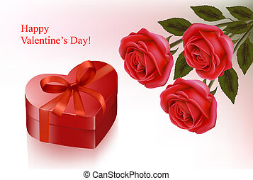 Valentine`s day background. Red roses and gift red box. Vector illustration.