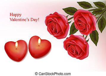 Valentine`s day background. Red roses and two heart candles. Vector.