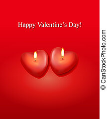 Valentine`s day background with two heart candles. Vector.