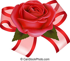 Valentine`s day background Red rose with gift red bow Vector...