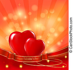 Valentine`s day background. Two red hearts hanging on ribbon. Vector illustration