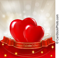 Valentine`s day background. Two red hearts hanging on ribbon. Vector illustration.