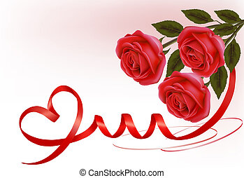 Valentine`s day background. Red roses with gift red bow. Vector illustration.