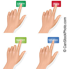Set of hands pushing different buttons and thumb up Vector
