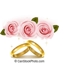 Two wedding rings and roses bouquet. Vector illustration.
