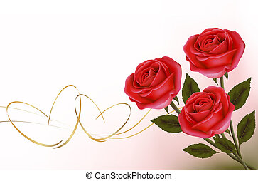 Valentine`s day background. Red roses with gift red bow....