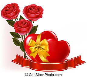 Valentine`s day background. Two red roses with two hearts...
