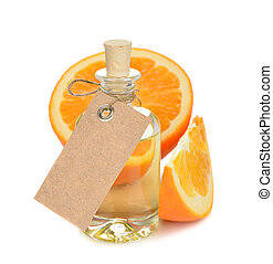 Orange essential oil on a white background