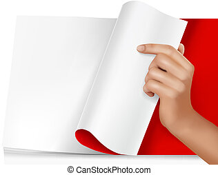 Blank sheet of paper with hand.Vector illustration.