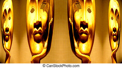 Four Faces - An image of a wooded face mask reflection made...