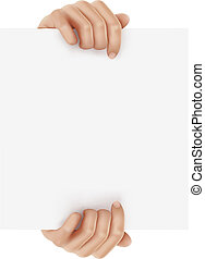 Hands holding business object. Vector illustration