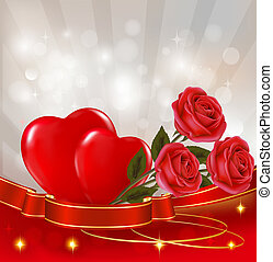 Valentine`s day background. Two red roses with two hearts hanging on ribbon. Vector illustration.