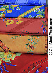 Provencal fabrics - Traditional patterns on pieces of...