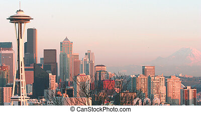 seattle skyline - an evening shot from the queen anne hill...