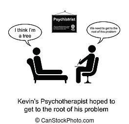 Tree roots - Kevin thought he was a tree cartoon isolated on...