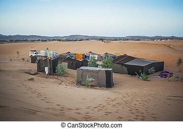 Berbère, tente, camp, sahara