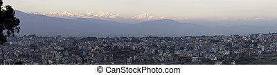 Himalayas behind Kathmandu - The Himalaya mountains behind...