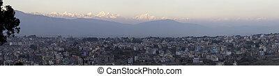 Himalayas behind Kathmandu - The Himalaya mountains behind...