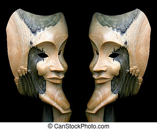 Wooden Face Mask - A wooden mask image edited in photoshop.