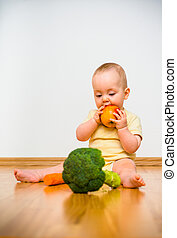 Baby eating fruits and vegetables - Healthy living Baby...