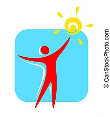 Person symbol - Red silhouette of the person with the sun in...