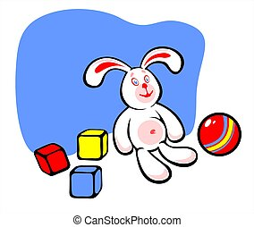Rabbit and toys - The white rabbit with three multi-colored...