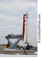 Monument of space rocket Vostok-1 - Moscow, December 11,...