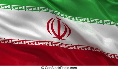 Flag of Iran seamless loop - Flag of Iran waving in the...