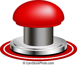 Red alert push button isolated on white background